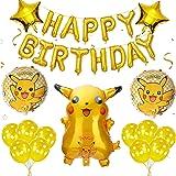 GUBOOM Cumpleaños Pokemon Globos Set, Pokemon Pikachu Foil Globos, Decoración de globos de Pikachu de cumpleaños infantil, Gl