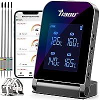 Tisoutec Bluetooth Thermomètre à Viande avec 4 * Sonde, 2 * Pince de Sonde et Batterie Li Rechargeable Conception de…