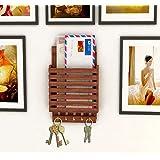 Home Sparkle Wooden Letter Cum Key Holder | Wall Mounted Letter Holder Key Holder for Home Decor (Brown)