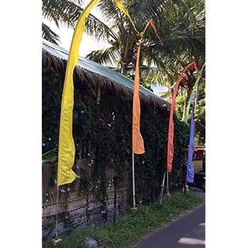Blue Wohnkult Bali Fahne 3 Meter 300 cm Umbul Umbul mit Herz am Ende 6 verschiedene Farben Garten Deko