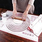 Pastry Mat, Grande Dimensioni Tappetino Forno in Silicone, Antiaderente Tappetino Pasticceria Impastare Misurazione, Senza BP