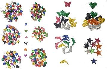 Kochartz Glitter EVA Foam 340-Piece Self Adhesive Stickers for Art and Craft Decoration (Multicolour, GEFS01MX)