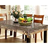 HOMECROWN Waterproof Dining Table Cover 6 Seater 3D Pattern Transparent PVC Plastic Table Cover with Embroidered Golden Lace