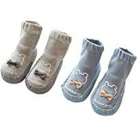 Gavena 2 Pairs of Baby Slippers Socks Toddler Girls Slippers Cotton Newborn Boys Warm First Walking Shoes Soft Sole Non Slip