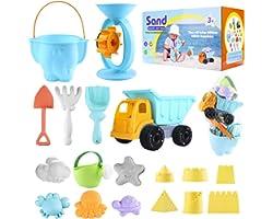 Jouets de Plage pour Enfants, 23 pcs Jouets de Sable Comprend Sable Roue d'eau, Moules de Sable, Seau, Pelle Outil de Sable K