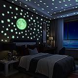 Yosemy Luminoso Pegatinas de Pared Luna y Estrellas, Fluorescente Decoración de Pared para Dormitorio de Niños, DIY Decoració