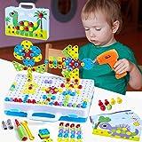 Paochocky Mosaique Enfant Puzzle 3D Jeu de Construction Mosaïque Enfant Jouet à Visser Mosaique avec Perceuse Electrique Magi