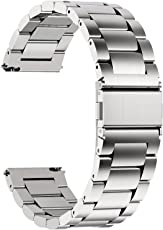 Fullmosa Quick Release Watch Strap, Stainless Steel Watch Band, 24mm Silver