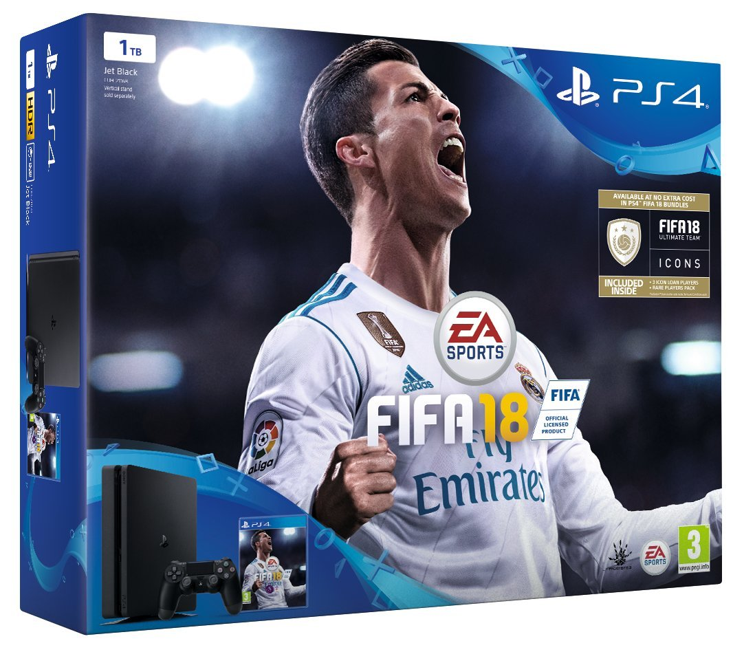 Sony PlayStation 4 FIFA 18 1 TB with FIFA 18 Ultimate Team Icons and Rare Player Pack [Edizione: Reg