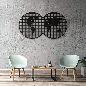 Decomood Orbis Wanddekoration Metall Weltkarte 3d Wandsilhouette