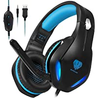 Stynice Gaming Headset with Noise Cancelling for Xbox One/PS4/PS5/PC/Laptop/MAC-Stereo Surround Lightweight Soft Earmuffs Headphone with 3.5MM Jack & Mic & LED Light (Blue)