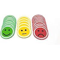 Tienda LEAN Smiley Rond Aimant. Paquet de 25 (10 Verts, 10 Rouges et 5 Jaunes) Magnétique (2,5 cm)