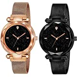 casera Analogue Women's Watch (Black Dial Rose Gold & Black Colored Strap) (Pack of 2)