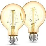 B.K.Licht Lot de 2 ampoules LED Edison Vintage G80 I E27, 4W, blanc chaud 2200K, intensité lumineuse 320lm, ampoule rétro à f