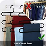 House of Quirk S-Shape 5 Layers Iron Trouser Pant Hanger - Set of 3