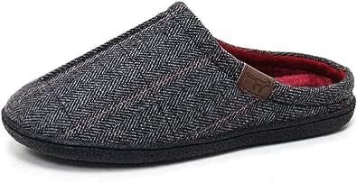 Jo & Joe New Mens Slip On Mules Tweed Fair Isles Nordic Knitted Warm Faux Fur Lined Slippers Size 8-12