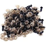100Pcs Yeux de Securite Amigurumi, Noir Yeux de Sécurité en Plastique avec Des Rondelles, Poupée Faisant Des Kits pour La Pel