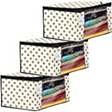 Kuber Industries Polka Dot Design 3 Piece Non Woven Fabric Saree Cover Set with Transparent Window, Extra Large, Ivory-CTKTC31924