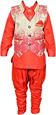 ahhaaaa Kids Ethnic Waistcoat, Kurta and Breaches Set for Boys RED102_Red Color
