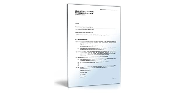 Beste Leasingvertrag Word Dokument Bilder - Bilder für das ...
