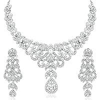 Apara Dazzling Alloy Rhodium Necklace Set with Austrian Diamond