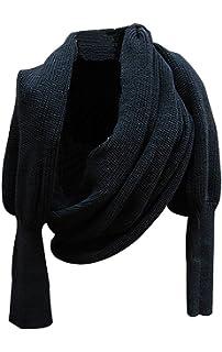 5684babd4bb6 Butterme Automne Hiver couleur unie tricoté écharpe châle avec manches pour  Femme Filles