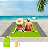 ISOPHO Picknickdecke 200 x 210 cm Stranddecke Wasserdicht, Strandmatte 4 Befestigung Ecken Stranddecke Sandfrei/Picknick für