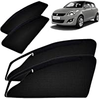 Autofact Magnetic Window Sunshades/Curtains for Maruti Swift (2012 to 2017) [Set of 4pc - Front 2pc with Zipper ; Rear…