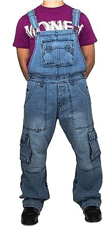 Mens, ladies Peviani combat/cargo bar denim dungarees, overalls onesie style hip hop urban unisex & kids stonewash