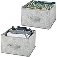 mDesign panier de rangement en tissu (lot de 2) – bac de stockage pratique pour rangement de penderie – corbeille de…