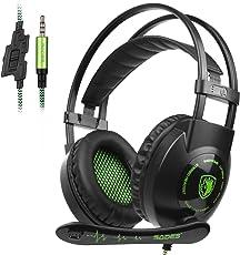 Sades SA801 3.5 mm Surround Sound stereo PC Gaming Headset Headband Gaming cuffie con microfono, controllo del volume e isolamento acustico per New PS4 Xbox One PC MAC tablet laptop Phone (verde)