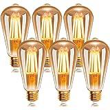 EXTRASTAR Ampoule à filament LED E27 ST64 4W 2200K Blanc Chaud , Rétro Edison Ampoule Vintage Antique Lampe , 400Lm Equivalen
