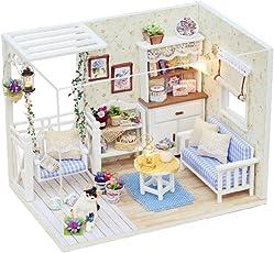Fancyku Toy House,Girls Home House, DIY Kitten Cat Diary Handmade House, Building Model Toys White