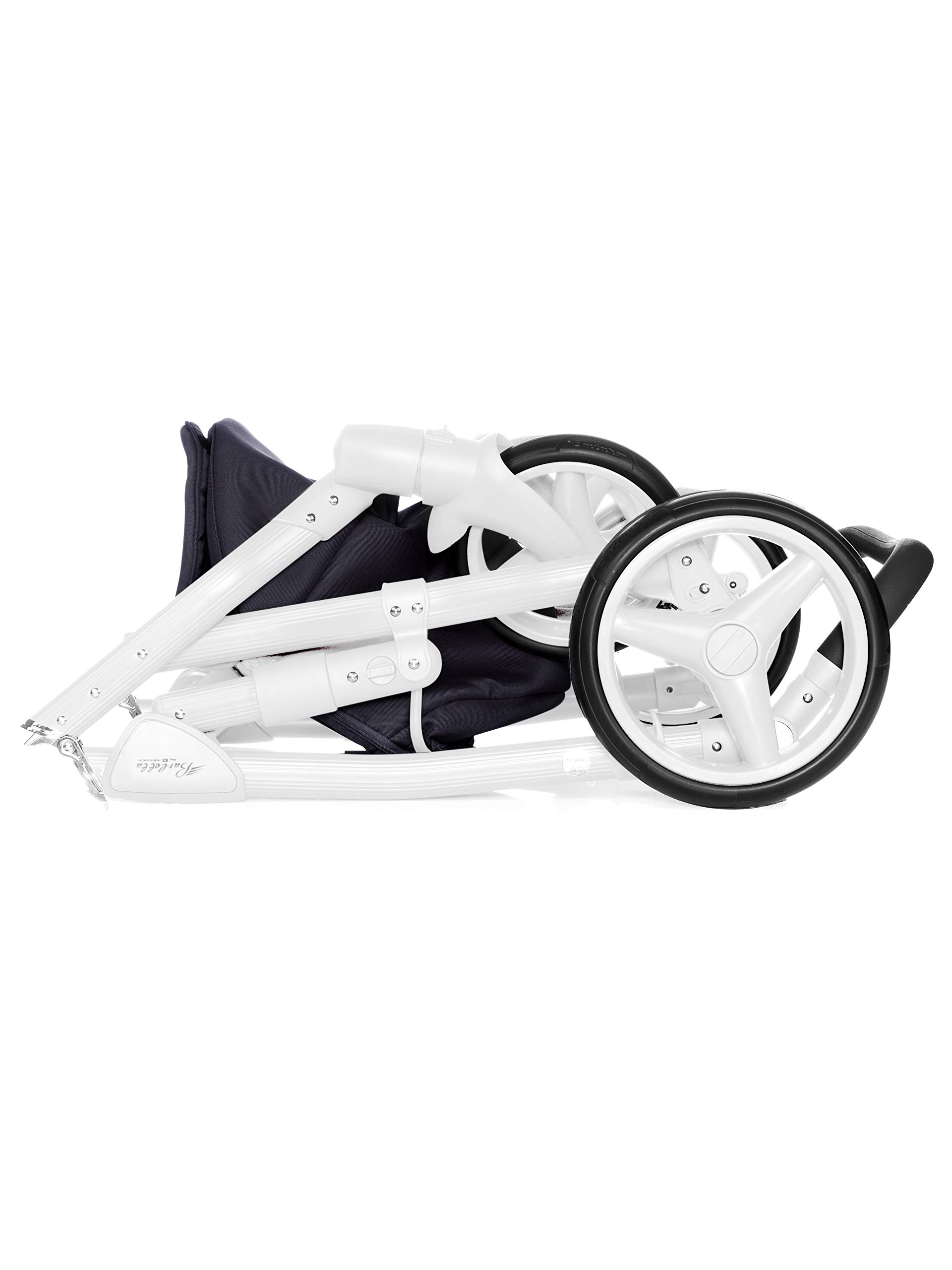 Baby Pram Pushchair Stroller Buggy, Travel System Adamex Barletta New B7 Fox-Navy-White 2in1 + ADAPTORS for CAR Seats: Maxi-COSI CYBEX KIDDY Be Safe Adamex Lockable swivel wheels and lockable side suspension system Light alluminium chassis with polyurethane wheels 2 separate modules + car seats adapters - big and deep baby tub functional sport seat and car seats adapters that can be attached to the following car seats: Maxi-Cosi: City, Cabrio fix, Pebble Cybex: Aton Kiddy: Evoluna i-Size, Evolution Pro 2 Be Safe: iZi Go 6