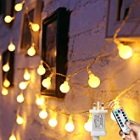 Globe String Lights Waterproof, 15M/49ft 120 LED Fairy Lights Plug in Powered, 8 Modes Christmas Lights Outdoor/Indoor…