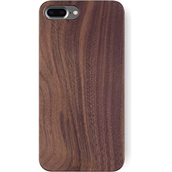 iATO iPhone 7 Plus / 8 Plus Real Walnut Wood Case Unique, Stylish & Classy Wooden Premium Protective Bumper Accessory - Snap on Hard Back Cover for iPhone 7+ 8+