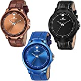 Armado Analogue Men's Watch (Black, Blue & Brown Dial Black, Blue & Brown Colored Strap)(Pack of 3)