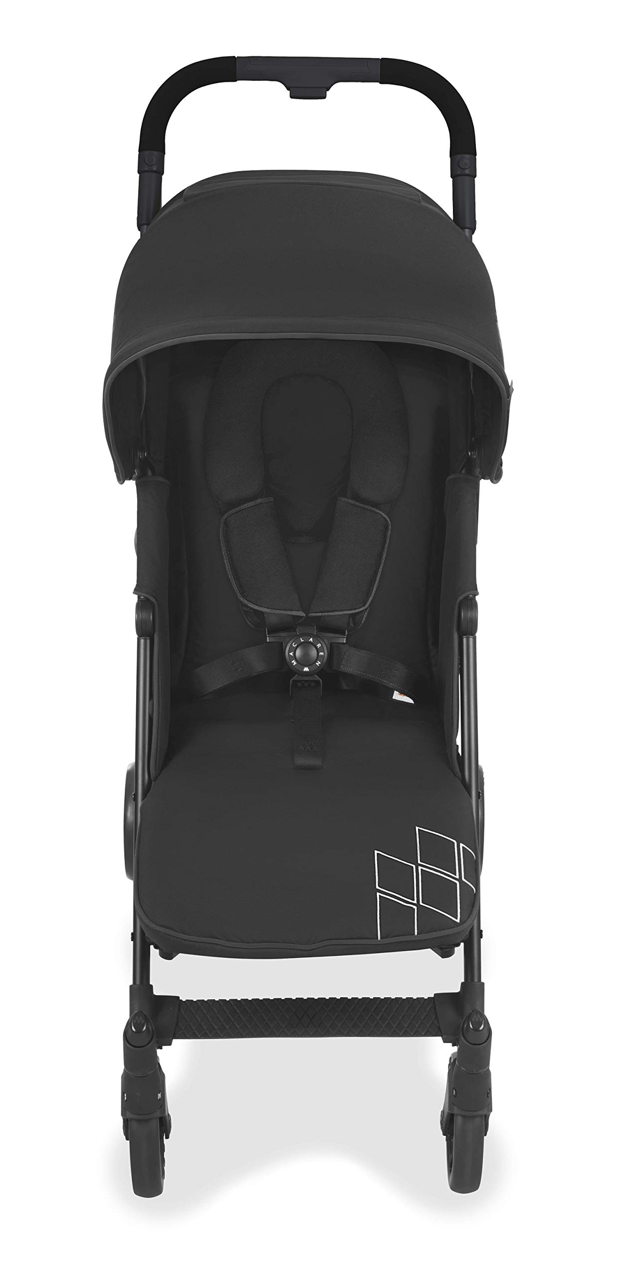 Maclaren Techno arc Stroller - lightweight, compact,Black/Black Maclaren The techno arc's basic weight is 7.1kg; ideal for newborns and children up to 25kg. The folded dimensions are 113cm L x 35cm w x 35cm H. The stroller is assembled The techno arc's padded seat reclines into 4 positions and converts into a new-born safety system. Coupled with ultra light flat-free eva tires and all wheel suspension The techno arc includes a wind-resistant rain cover and headhugger & shoulder pads. Waterproof/ upf 50+ hood to protect from the elements and machine washable seats to keep tidy 4