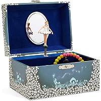 Jewelkeeper - Spieluhr Schmuckkästchen für Mädchen mit drehender Fee und Stern Design in Blau und Weiß - Schwanensee…