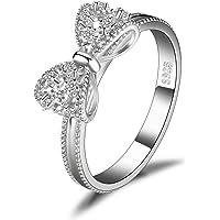 JewelryPalace Anelli Donna Argento 925, Fedine Fidanzamento Coppia, Anello Farfalla Nodo, Eterno Amore Diamante Simulato…