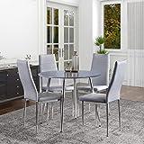 GOLDFAN Table et 4 Chaises Table à Manger en Bois Ronde Table de Cuisine Chaise en Cuir Chaise de Salle à Manger Cuisine Salo