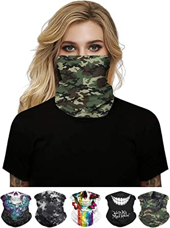 Print Cloth Masks for Nose and Mouth Washable Breathable Fabric HONYAR Unisex Seamless Bandana Face Mask for Women Men