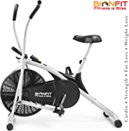 BIONFIT Upright Air Bike Exercise Cycle with Dual Moving Arms for Home Gym Cardio Full Body Weight Loss Workout