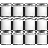 Mikken Lot de 12 bocaux en verre de 400 ml avec couvercle à vis sans PVC, entonnoir inclus