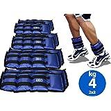 Lupex Shop Coppia di Pesi per Caviglie e Polsi da 0,5 a 6kg, Sacchetto di Sabbia, Regolabili con Strappo in Velcro, per Allen