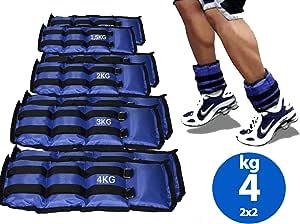 Lupex Shop Coppia di Pesi per Caviglie e Polsi da 0,5 a 6kg, Sacchetto di Sabbia, Regolabili con Strappo in Velcro, per Allenamento Palestra, Running, Fitness