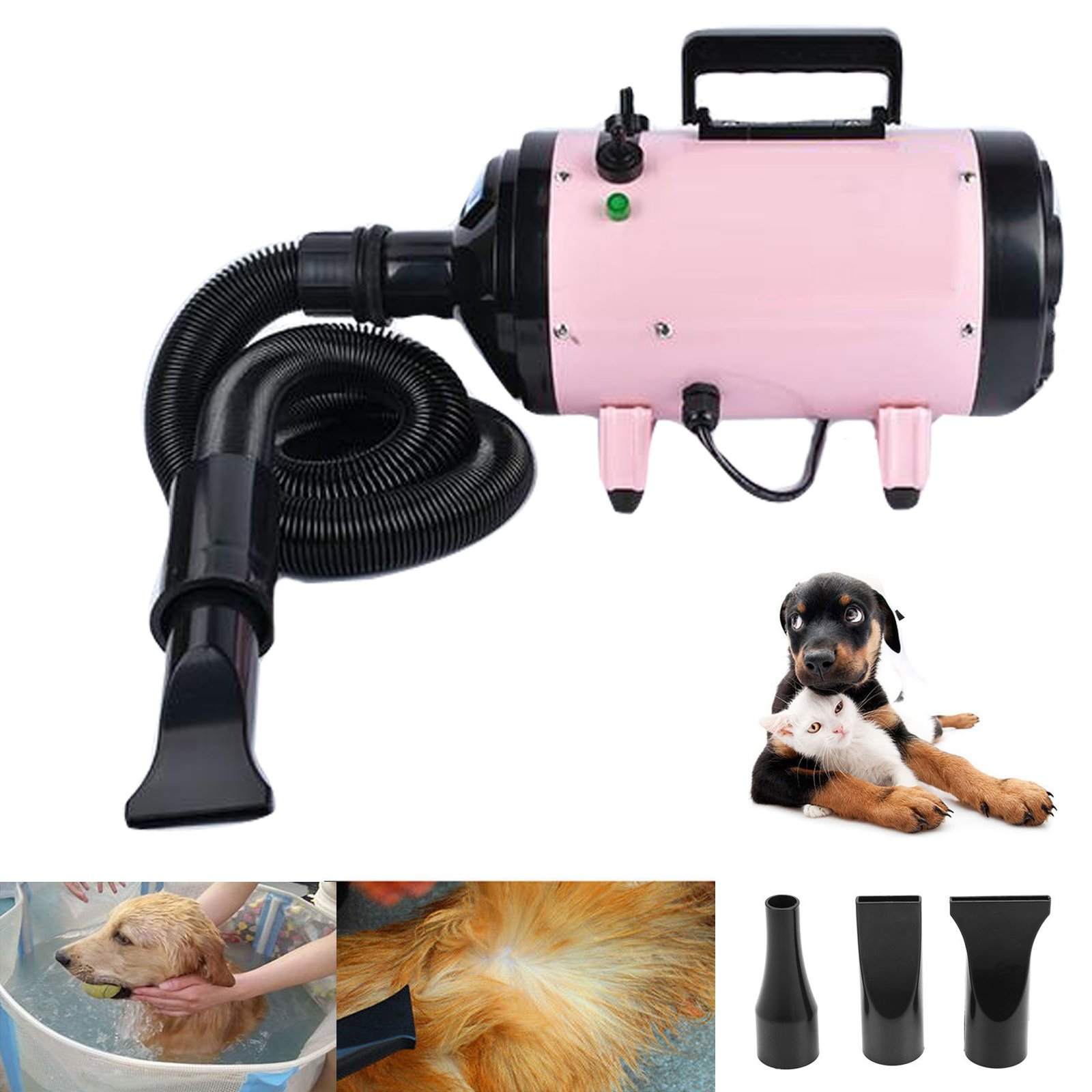 dicn 2400W Pet Hairdryer Variable Speed High Velocity Hair Dryer Grooming Fur Blower Blaster Heater 3 Nozzles + Flexible Hose Professional for Dogs Cats Pink