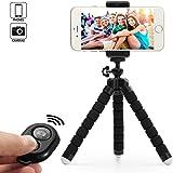 Dezuo 18cm Mini Trépied Flexible pour Smartphone, Caméra, iPhone, Gopro inclut Support de Téléphone Universel et Télécommande Bluetooth pour Vidéo et Photo