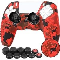 Benazcap Cover Skin in Silicone Antiscivolo per Controller PS5 Grip Skin x 1 (Camouflage Rosso) con Attacchi PRO FPS…