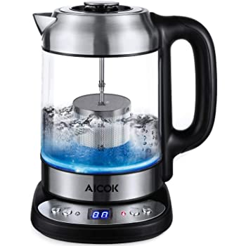 Aicok Glass Electric Kettle with Temperature Control, Blue LED Illuminated Teapot Stainless Steel Digital Base, Fast Boil Jug Kettle with Tea Infuser 1.7L, 2200W